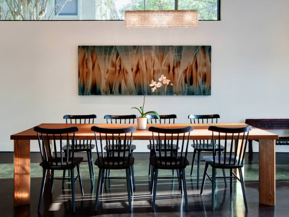 Contemporary Dining Room rectangular crystal chandelier