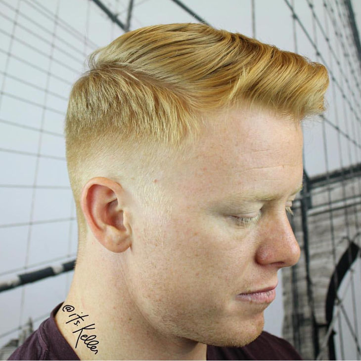 Gold Colored Mohawk Fade Haircut