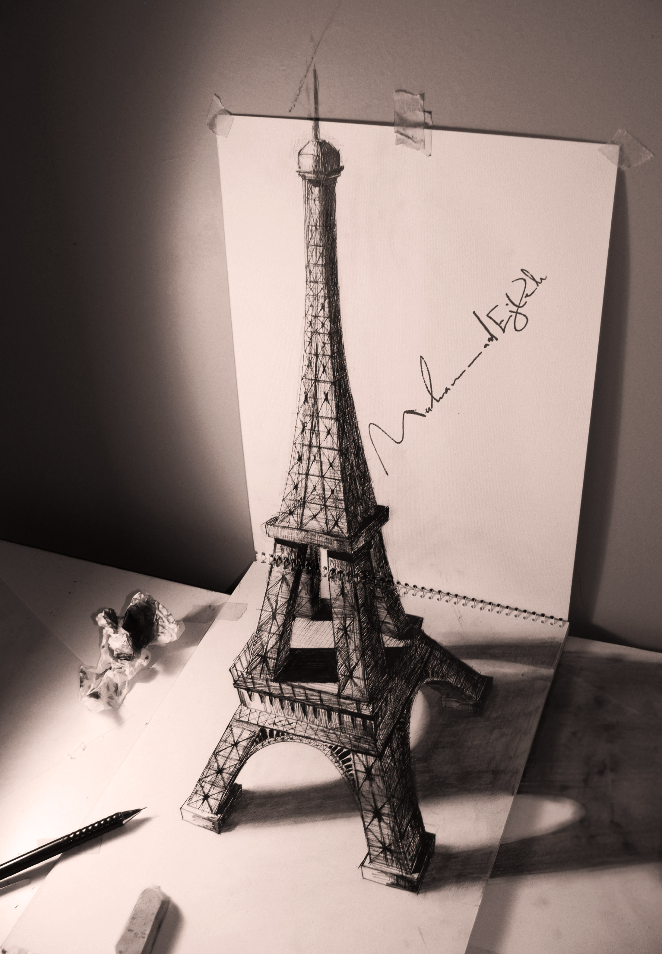 eiffel tower pencil drawing3