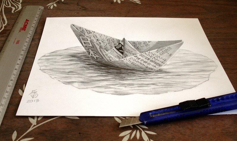 3D Boat Pencil Drawing