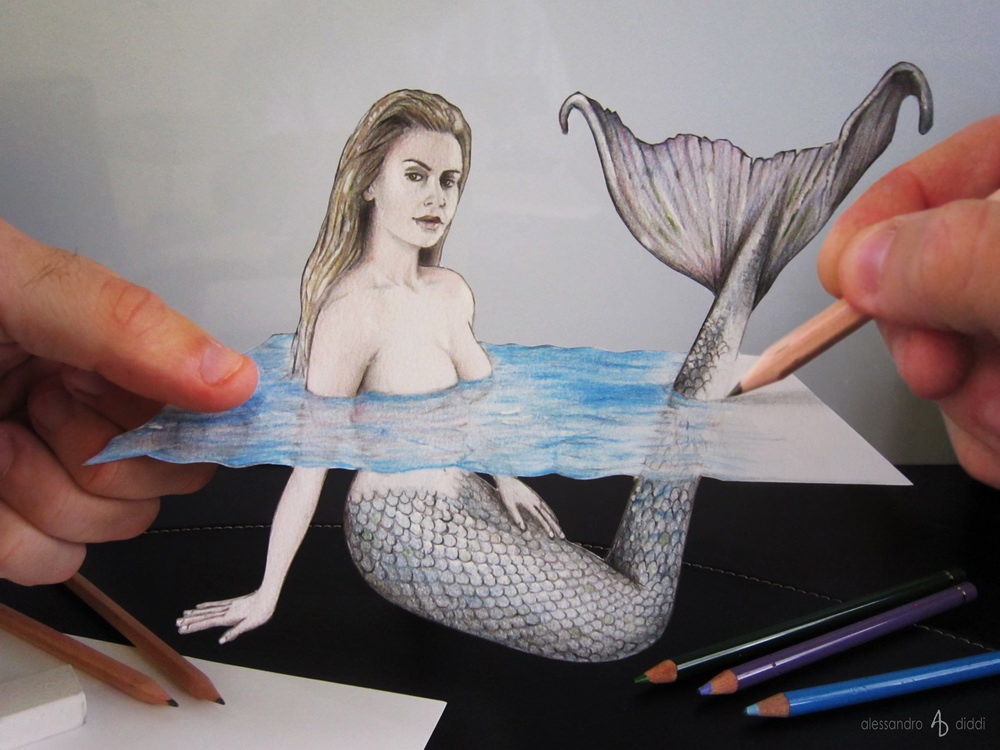 Mermaid Beautiful Drawing with Pencil