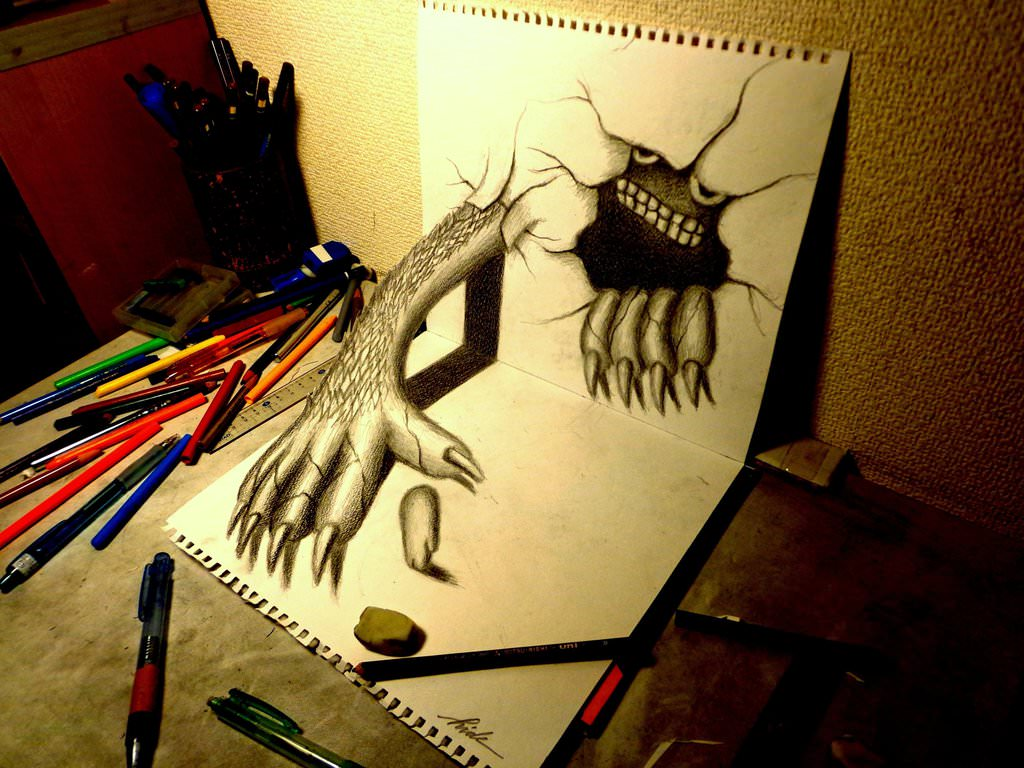 monster pencil drawing
