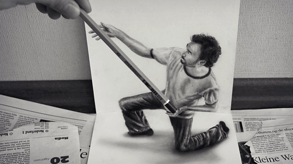 Awesome Man with Pencil 3D Drawing