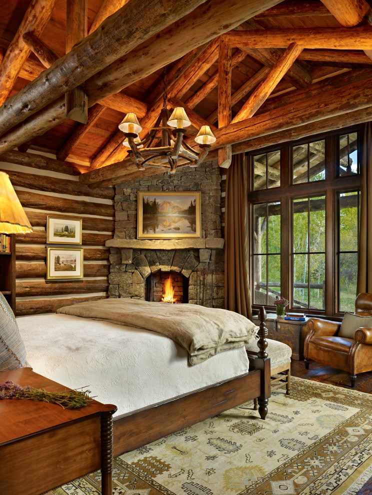Hard Wood Rustic Bedroom Interior