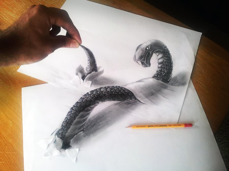 crazy snake pencil 3d drawing