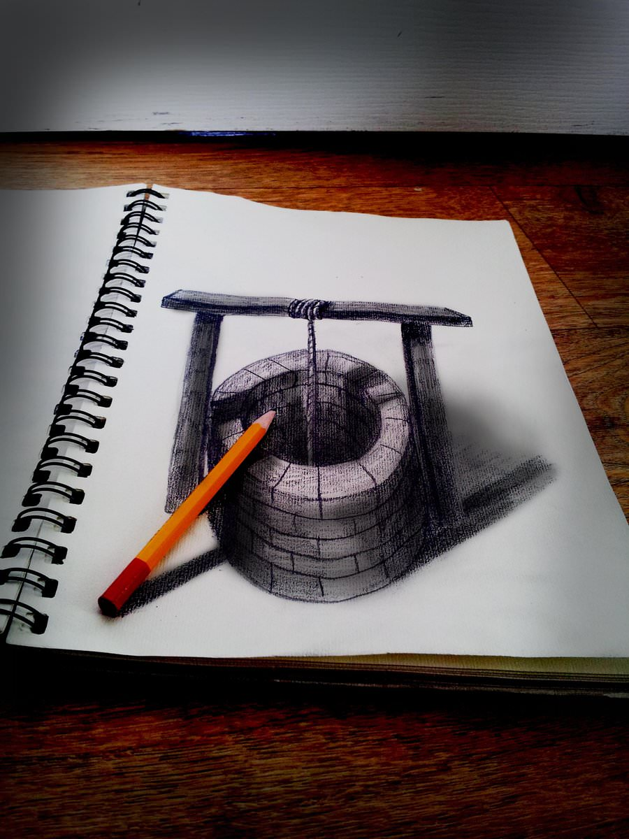 pencil 3d drawing of well