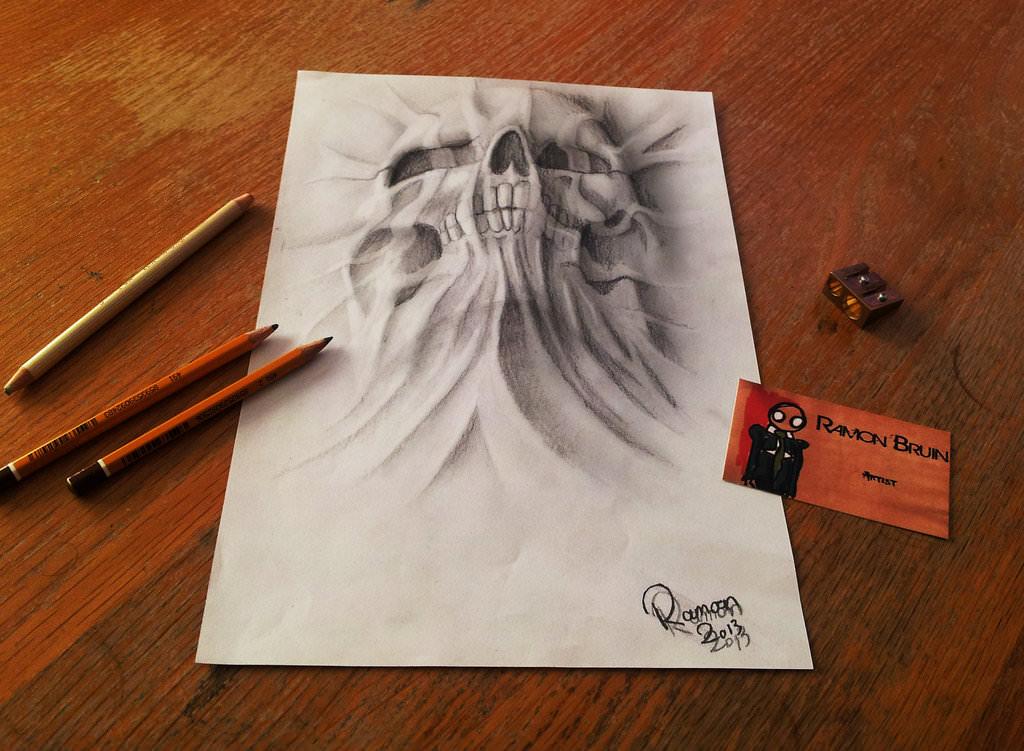rising skull drawing with pencil