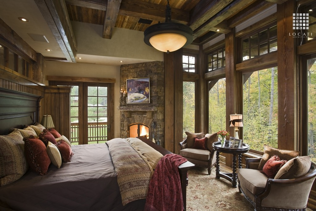 country side rustic bedroom interior