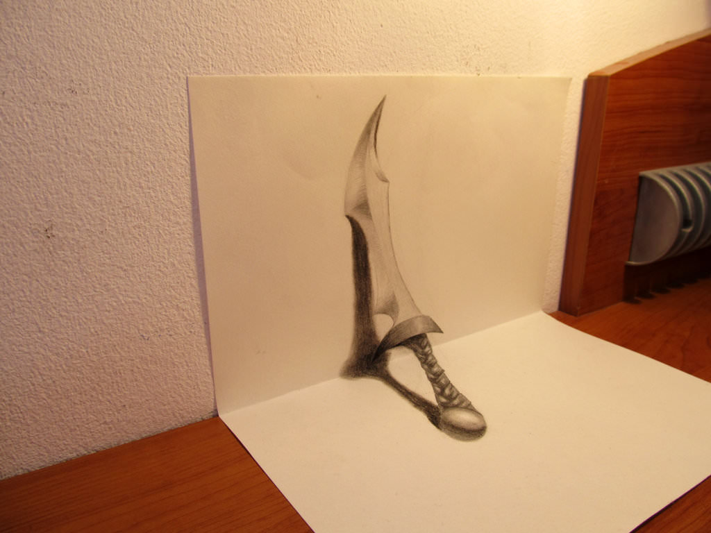 3d dagger on paper with pencil2