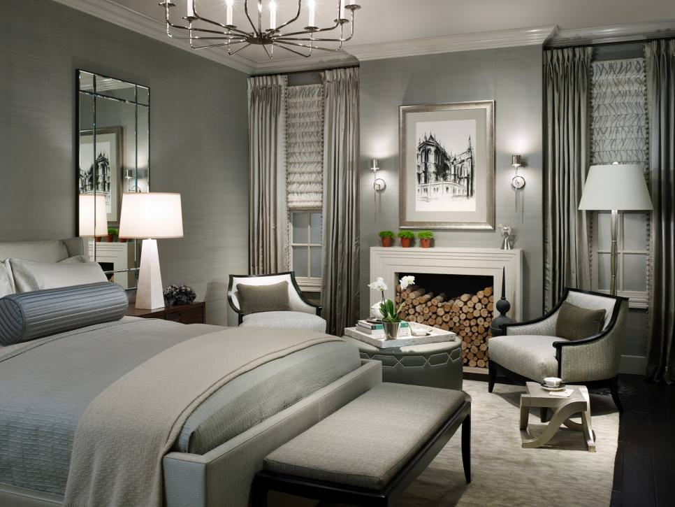 Gray Bedroom With Contemporary Chandelier