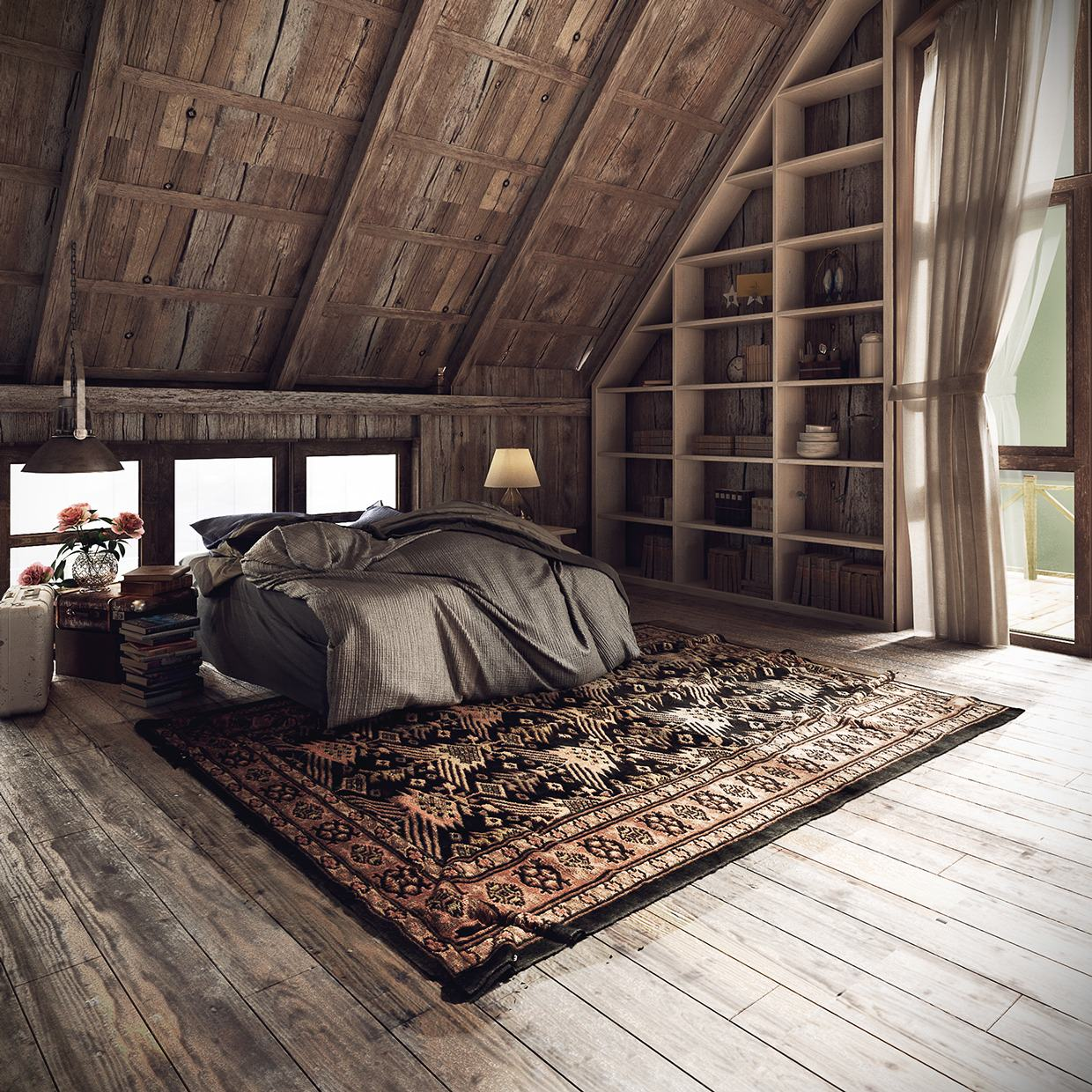 Rug Rustic Bedroom Design