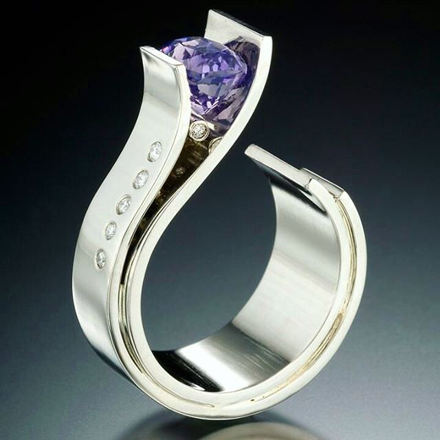 Designer Purple Ring For Wedding