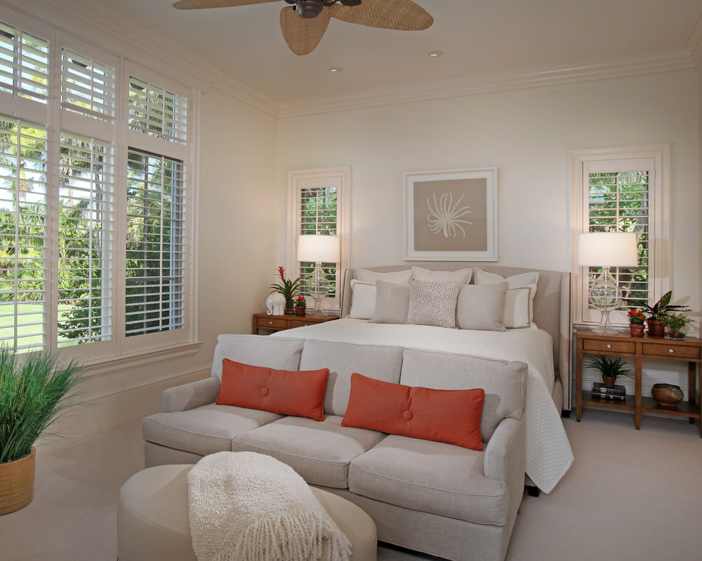 White Tropical bedroom Design