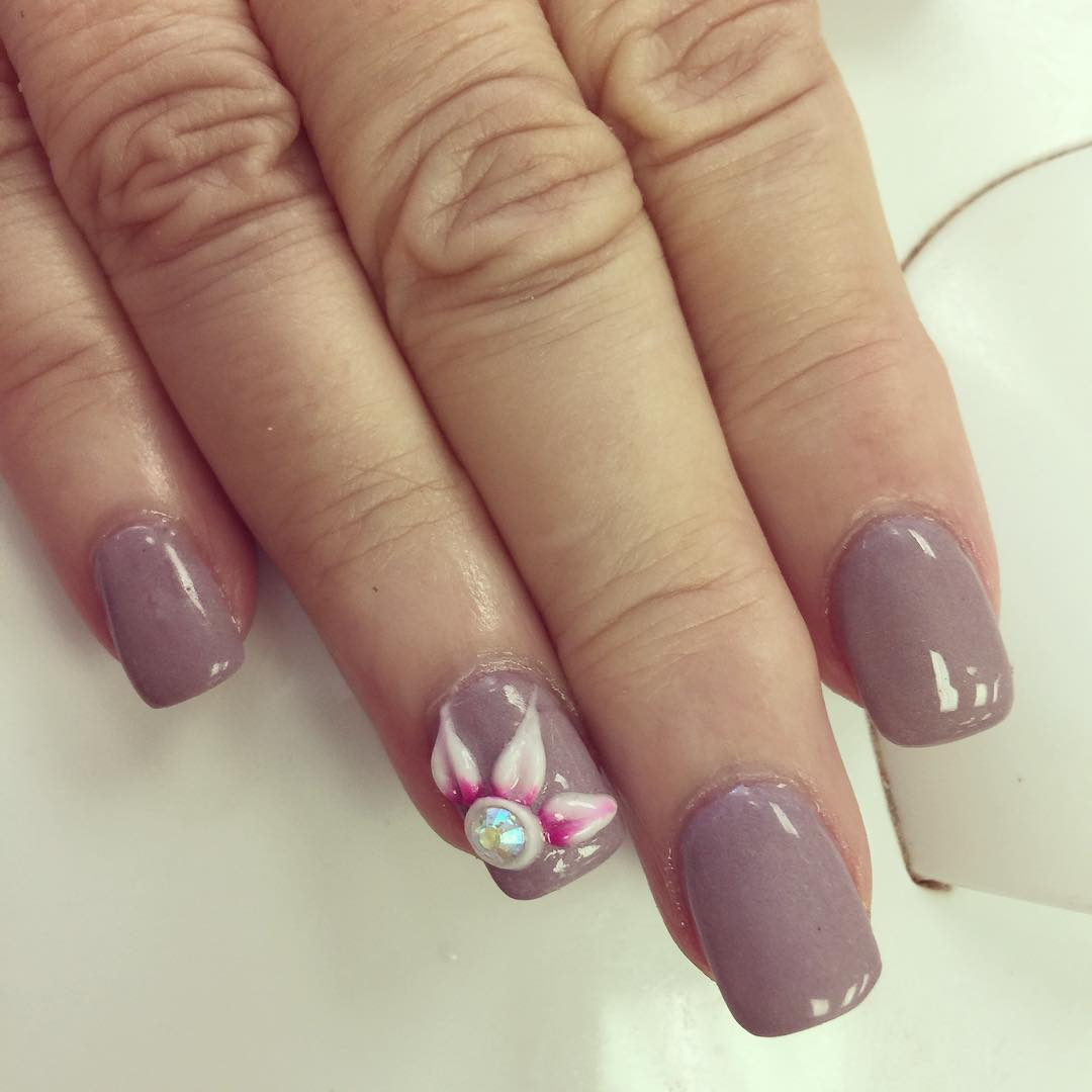 Grey 3D Nail Art Design