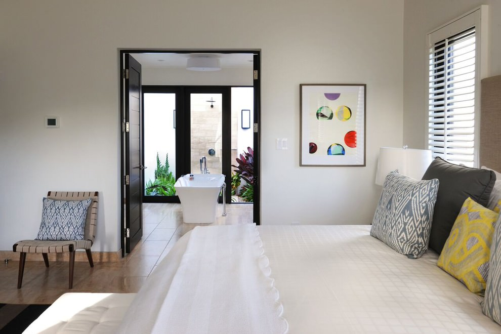 Plain White Tropical Bedroom Design