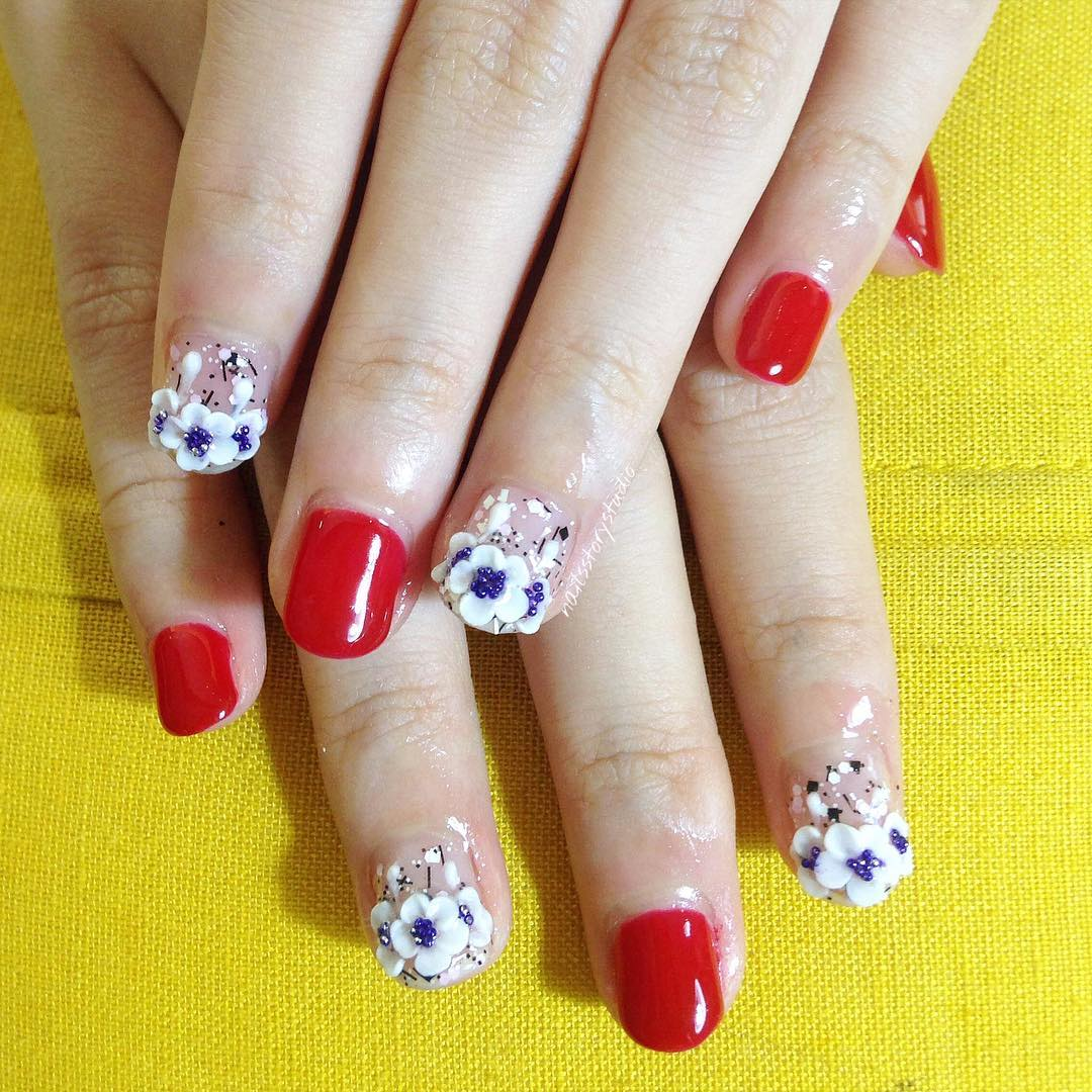 Red & Flowers 3D Nail Art Design