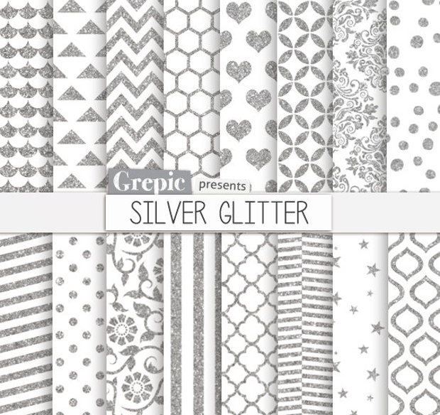 Silver Colored Glitter Pattern