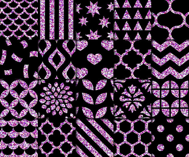 Black and Purple Glitter Pattern