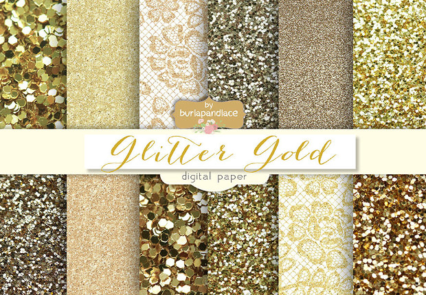 Glitter Metalic Gold Pattern