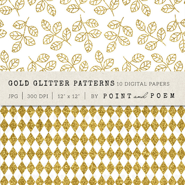 Gold Glitter Leaf and Diamond Pattern