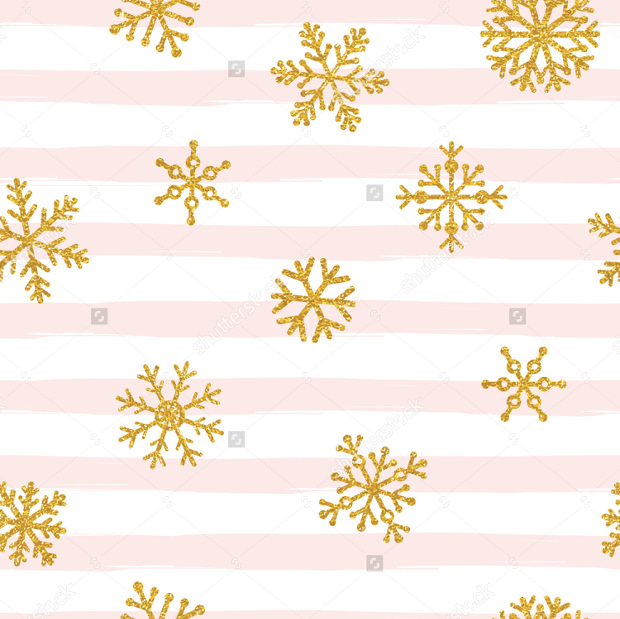 Gold Glitter Snowflakes Pattern