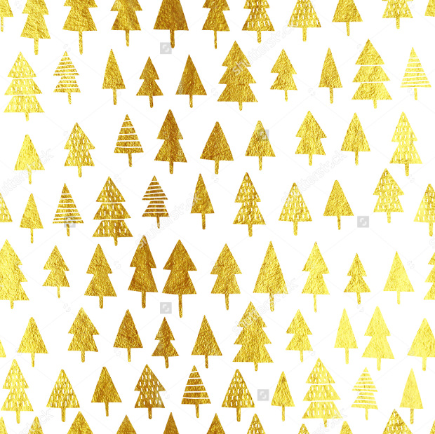 Gold Glitter Christmas Tree Pattern