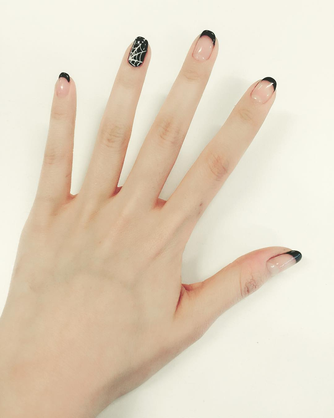 Beautiful Black Tip Nail Design