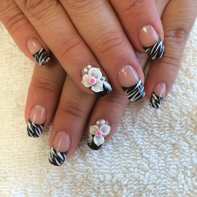 Lines-Black Tip Nail Design