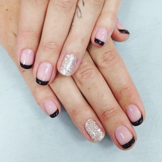 shining black tip nail design