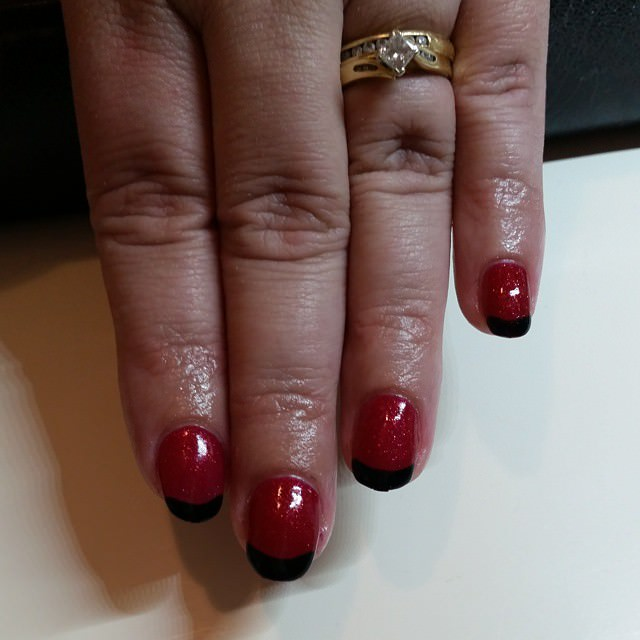 Red with Black Tip Nail Design