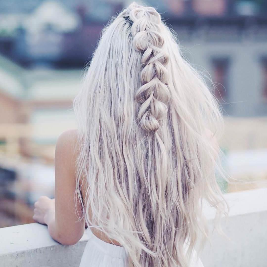 silver waterfall braided hair