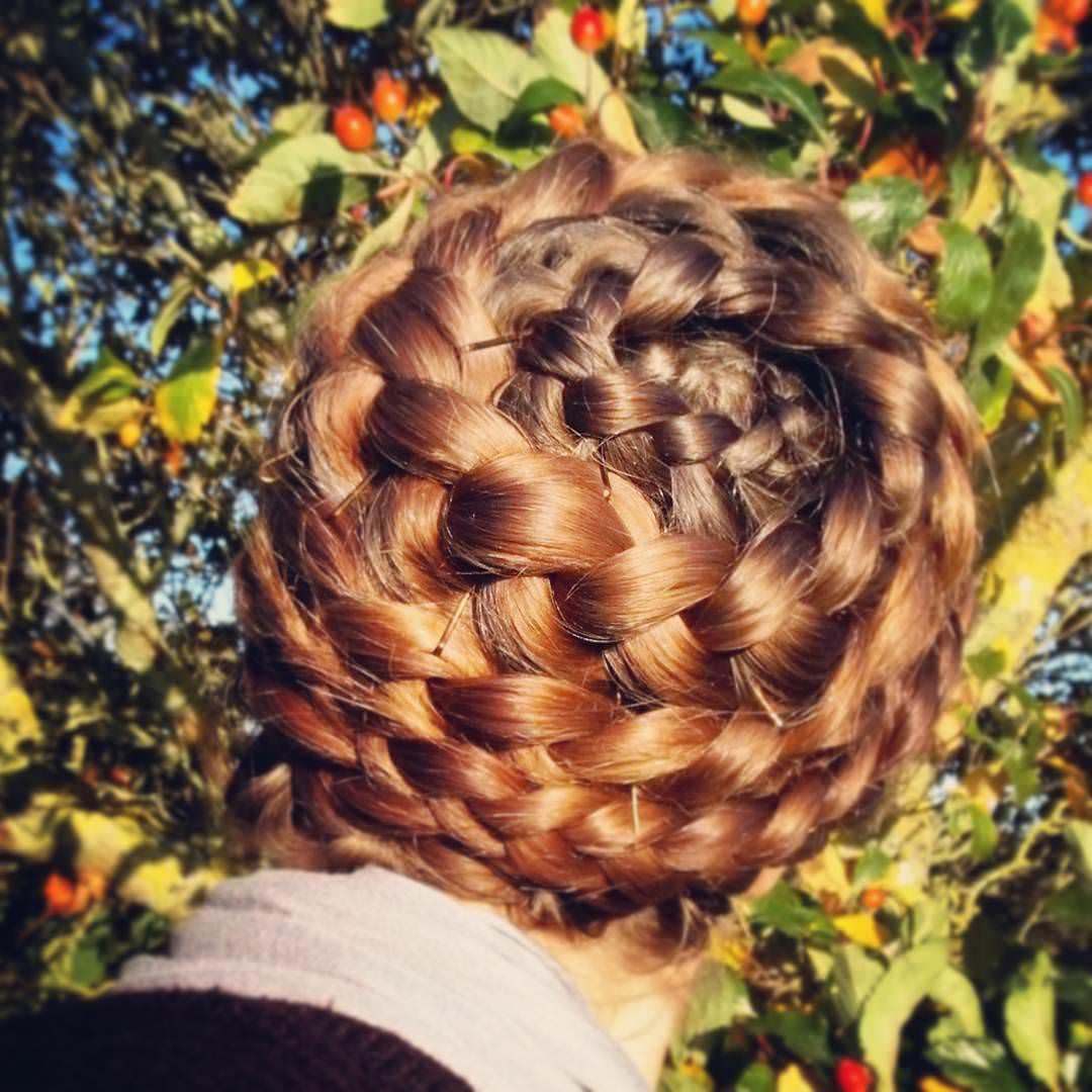 long spiral braid bun