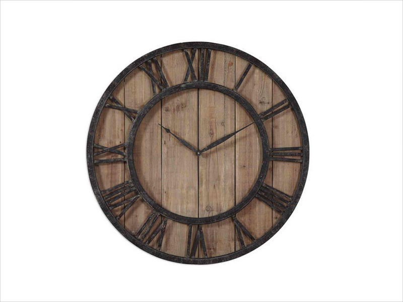 wooden industrial wall clock design