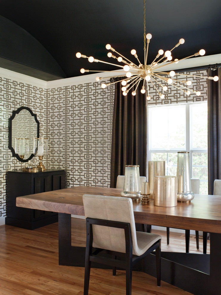 Transitional dining room nice sputnik chandelier