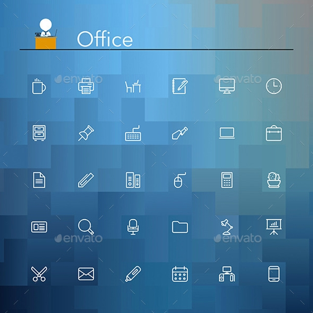 Office and Workplace Line Icons