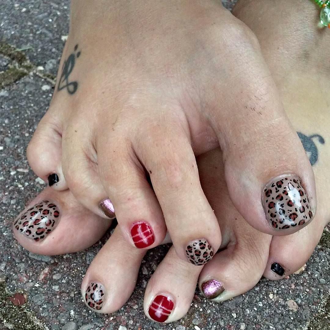Animal Black Toe Nail Design