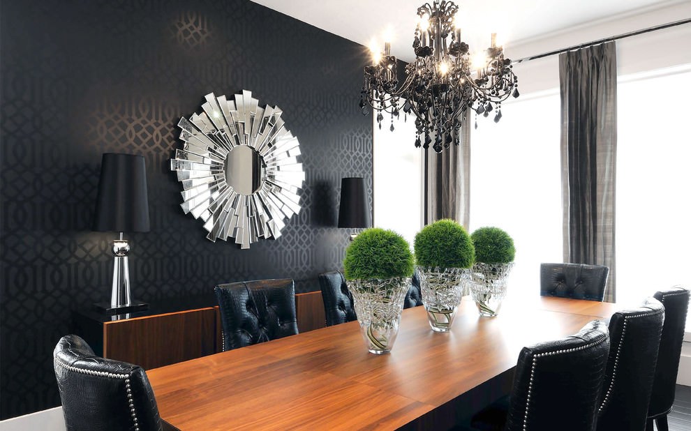 Decorative Black And White Dining Room