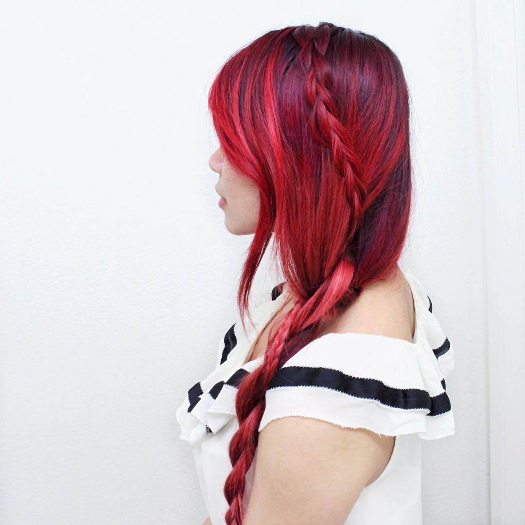 Red Shaded Braided Hairstyle for Girl