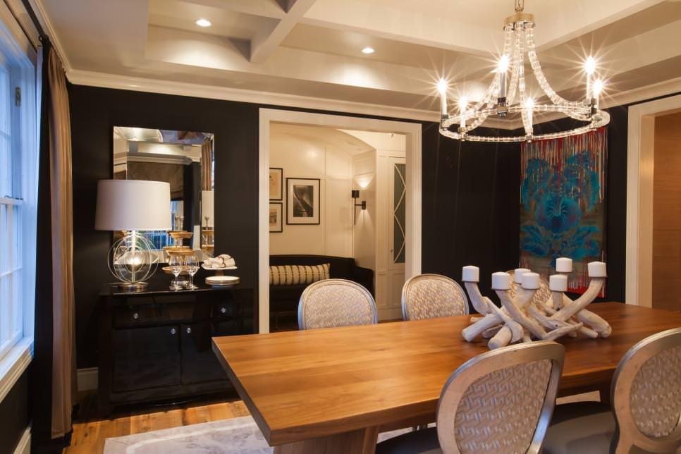 black dining room sparking chandelier