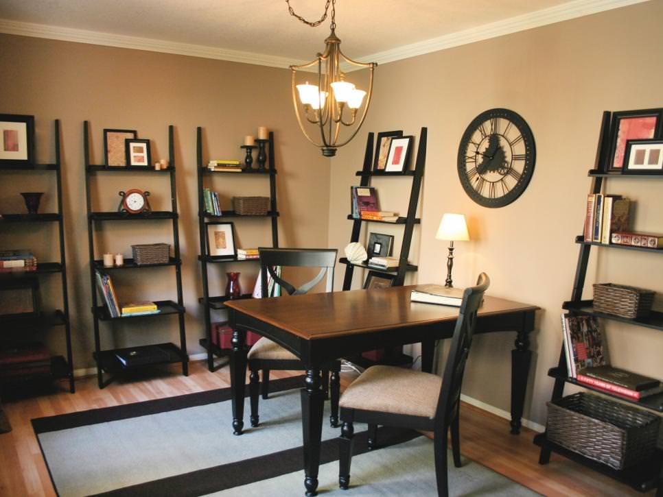 Transitional Home Office With Ladder Shelves