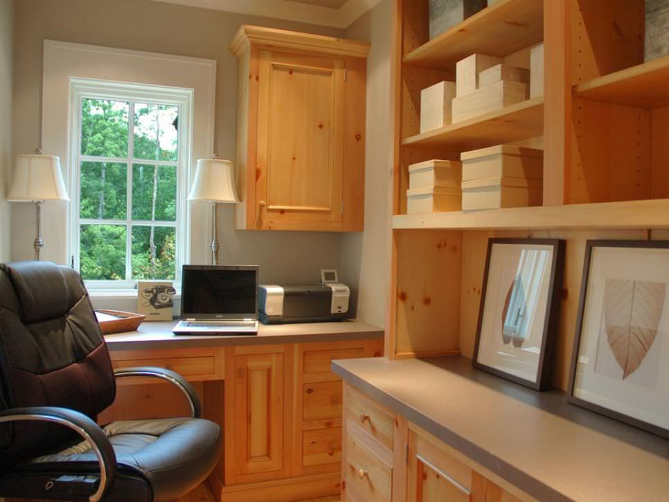 Home Office With Natural Wood Shelving