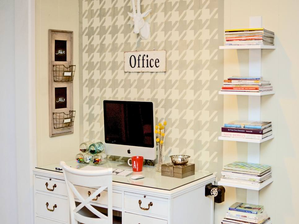 Stylish Home Office With Open Shelving