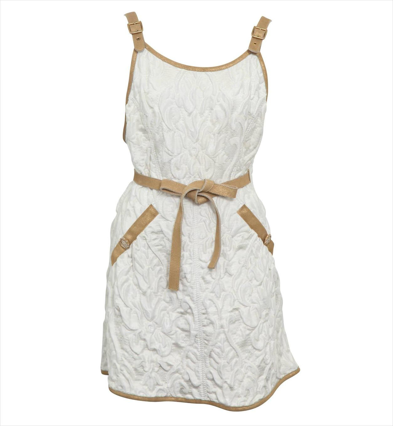 chanel brocade white dress