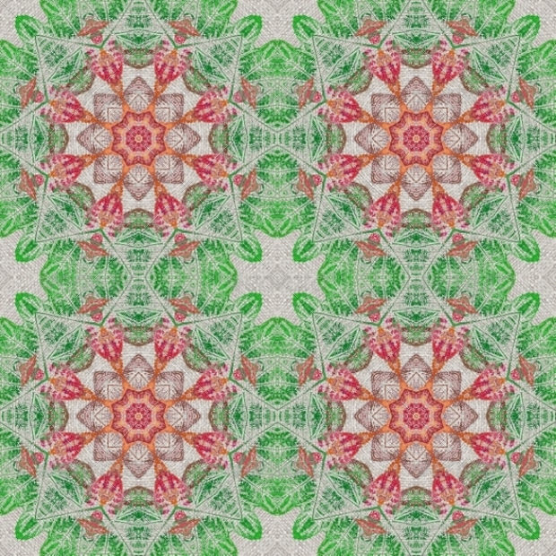Green and Pink Floral Pattern on Fabric