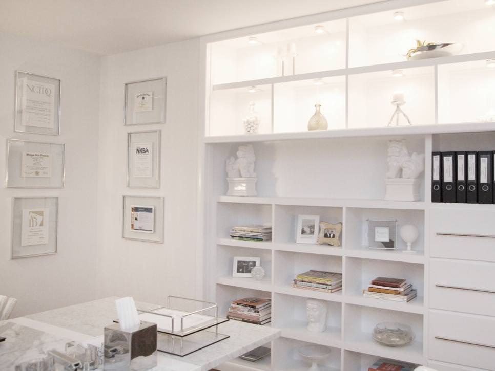 Contemporary Home Office With Custom Shelving
