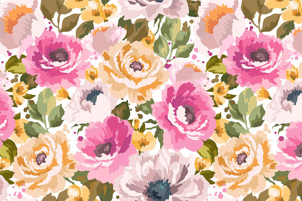 Beautiful Floral Pattern on Fabric