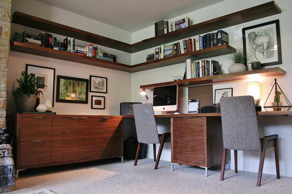 White and Brown Midcentury Home Office With Floating Shelves