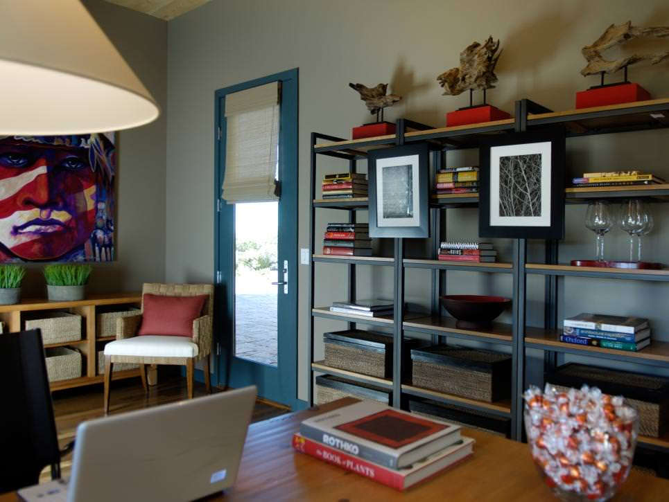 Home Office With Industrial-Style Shelves design