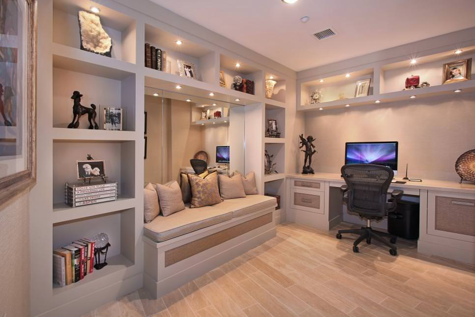 Home Office with Built-In Desk Shelving design