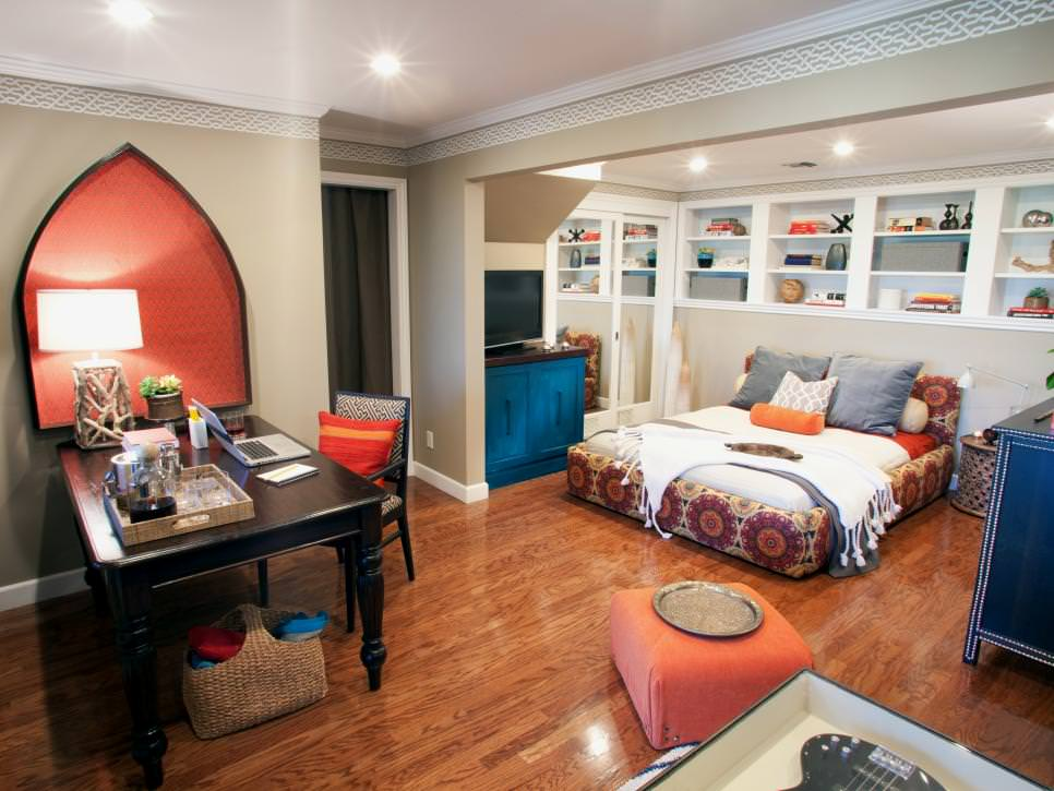 Blue and Orange Home Office and Built-in Shelving design